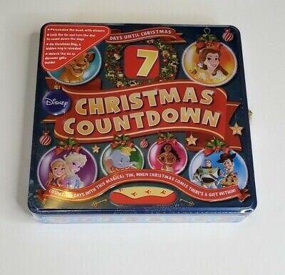 DISNEY Christmas 7 Day Countdown Locking Advent Tin Book Sticker Sheet NEW