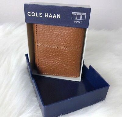 Cole Haan Pebble Leather Trifold Wallet British Tan Mens New $88
