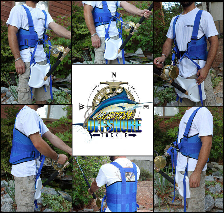 STAND UP FISHING FIGHTING BELT SHOULDER & BACK HARNESS COMPLETE PACKAGE- XXL
