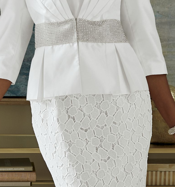 Essie 3-Piece White Dress Skirt Set Ashro Lace Tiered Formal Suit 8 10 12 14 18W