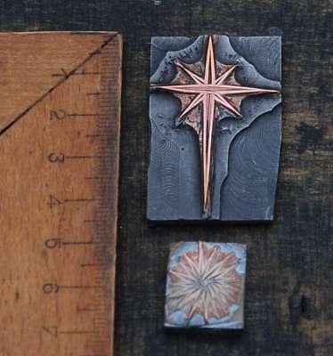 2 x Galvano Druckplatte Klischee Eichenberg printing plate copper Sterne Stern