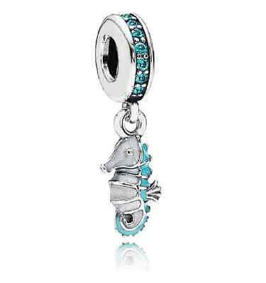 Authentic Pandora Charm Sterling Silver Tropical Seahorse Teal Enamel Dangle