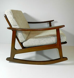 Danish mid century mod blond rocking chair eames knoll era rocker furniture ebay - Knoll rocking chair ...