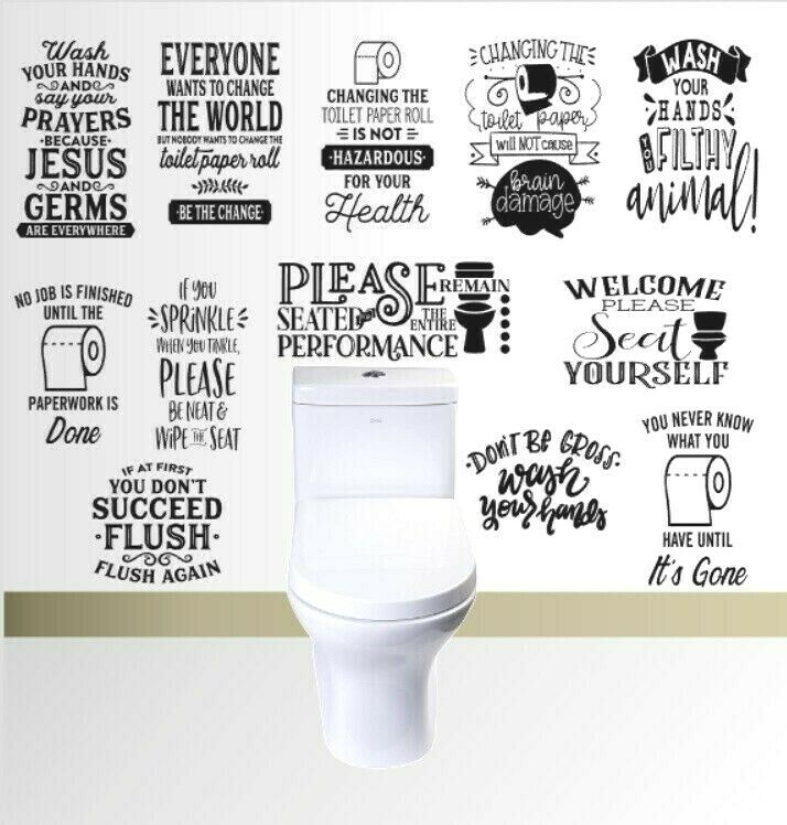 Home Decoration - Wall art stickers for toilet, bathroom, removable home decor, vinyl funny quote