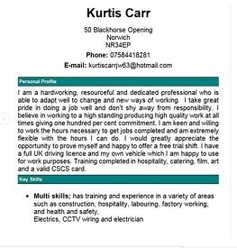 Work wanted, reliable and hard working...