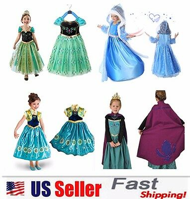 Princess Elsa Anna Frozen Dressup Costume Dress Ball Gown Toddler 2-10 Y](Elsa Dress Girls)