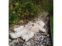 2 ft Homemade Concrete Crocodile' Statue