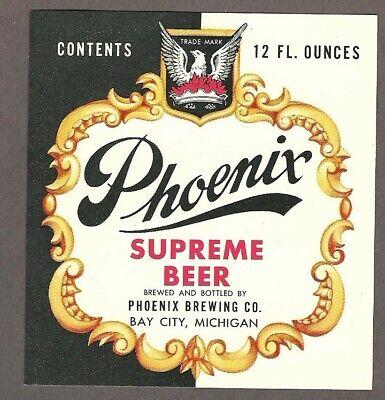 Phoenix Supreme Beer Label, non - IRTP, Phoenix Brewing Co., Bay City, MI
