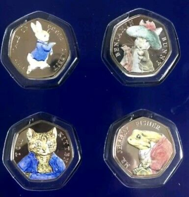 2017 BEATRIX POTTER  SET UNCIRCULATED 50p Coins PETER RABBIT AND FRIENDS