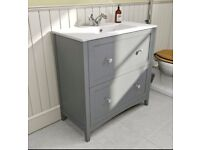 The Bath Co. Camberley Grey vanity drawer unit with basin 800mm (No Taps)