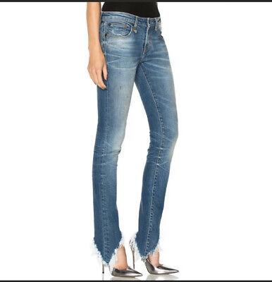 New R13 Kate Skinny Asymmetrical Frayed Hem Branson Blue Skinny Jeans Size 28