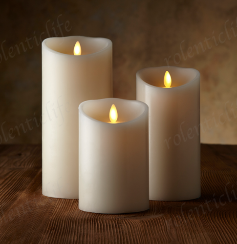 set of 3 flameless pillar candles moving