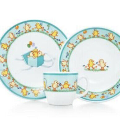 TIFFANY & CO. 3 PIECE CHICKS GIFT SET CUP BOWL & PLATE