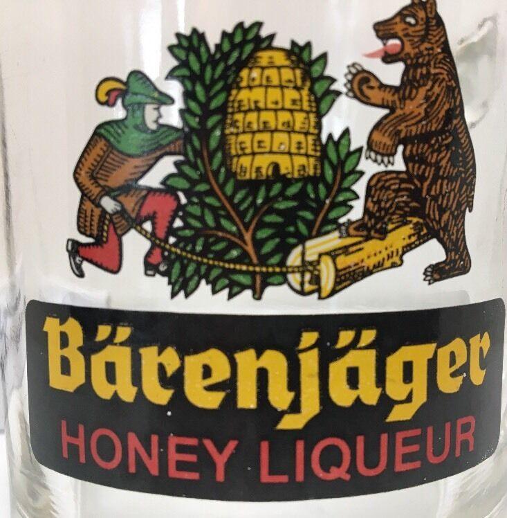 BARENJAGER HONEY LIQUEUR Glass Mug Germany Beverage Cup BEAR BEE Logo *VINTAGE*