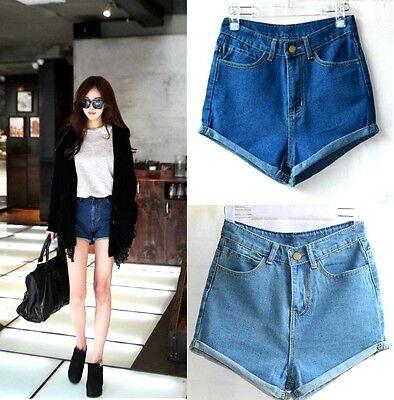 Women's Girls Blue Vintage Retro High Waist Crimping Pants Jeans Denim Shorts