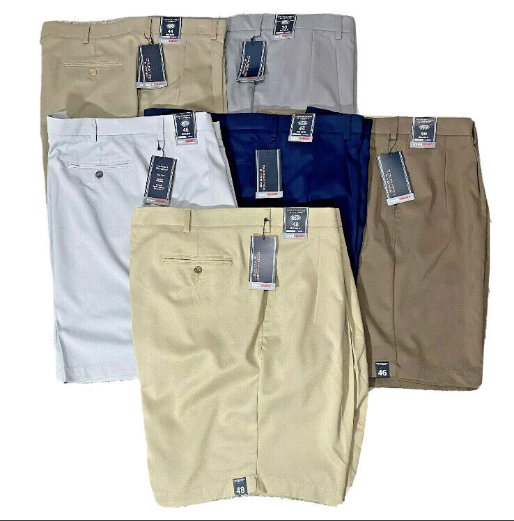 Roundtree & Yorke Mens Pleated Travel Smart Chino Shorts Big and Tall Big Man Clothing, Shoes & Accessories