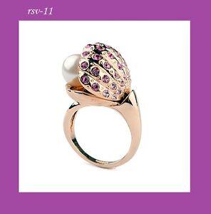 donna-perla-di-conchiglia-anello-oro-18k-dorati-Cristallo-Idea-regalo