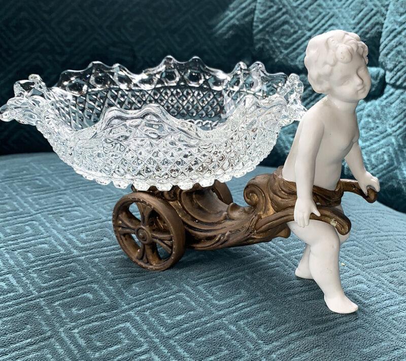 Vintage Porcelain Ceramic Cherub Pulling Chariot Cut Crystal Glass Hobnail Bowl