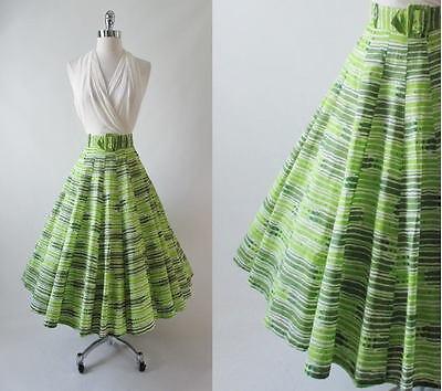 Vintage 50's Atomic Mid Century Modern Green Stripe Full Circle Skirt XS