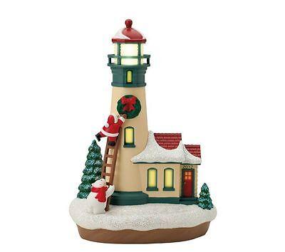 Holiday Lighthouse 2012 Hallmark Ornament  1 Santa Snowman Snow Christmas Wreath