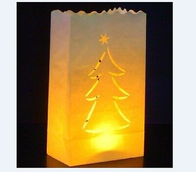 10 X'mas tree Candle Paper Bag Lantern Garden Party Outdoor Luminaries - Paper Bag Luminaries Christmas