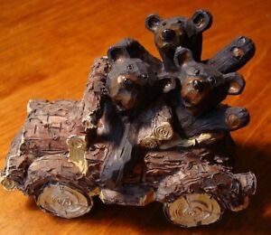 BLACK-BEAR-FAMILY-OLD-FASHIONED-AUTOMOBILE-CAR-Log-Cabin-Lodge-Home-Decor-NEW
