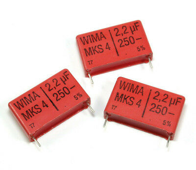 New 2pcs Wima Mks-4 2.2uf 250v 5 Metallized Polyester Box Film Capacitor
