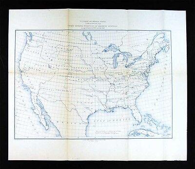1881 US Coast Survey Map - United States Chart of Magnetic Stations - Geodetric Magnetic Map United States