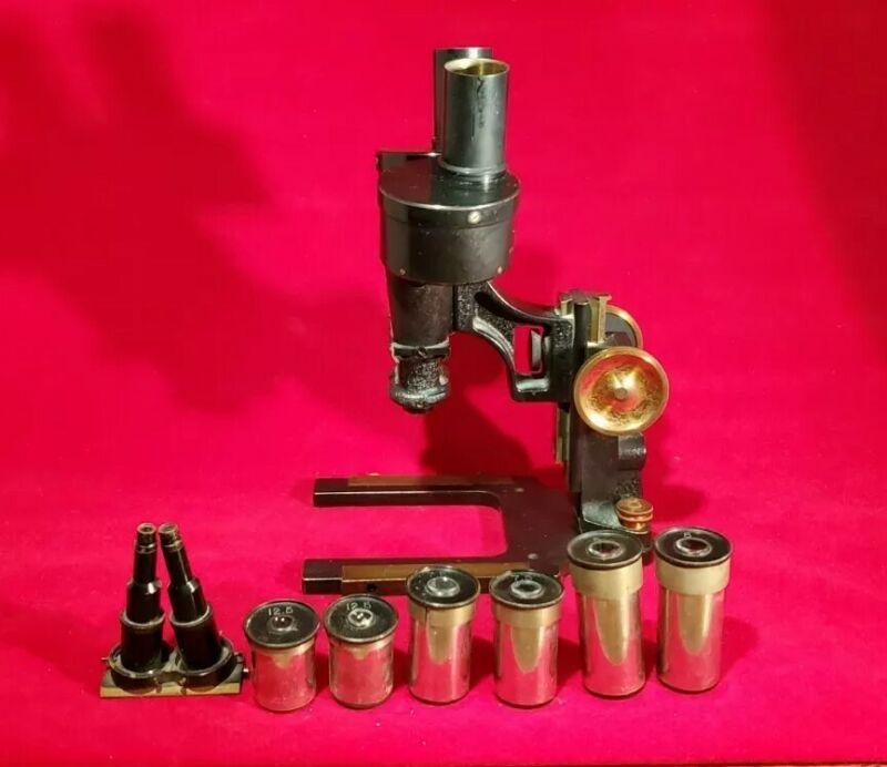 Antique Brass Bausch & Lomb Binocular Dissecting Microscope Stereo Microscope
