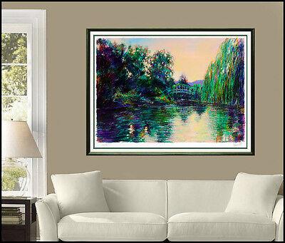 Aldo Luongo Color Serigraph Signed Large Signed Monet Artwork Original Landscape