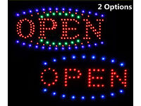 Hanging LED Light OPEN Sign Board Flash/Static Dual Modes, Store Shop Display, 1 Ring or 3 Rings