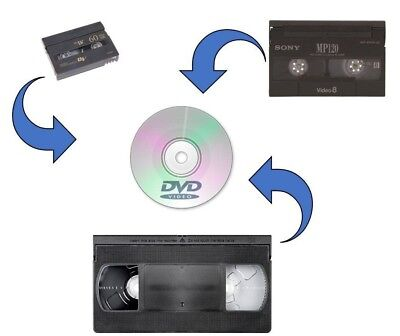 Video Tape Transfer VHS VHS-C MiniDV 8mm to DVD opt download free ship min qty 2
