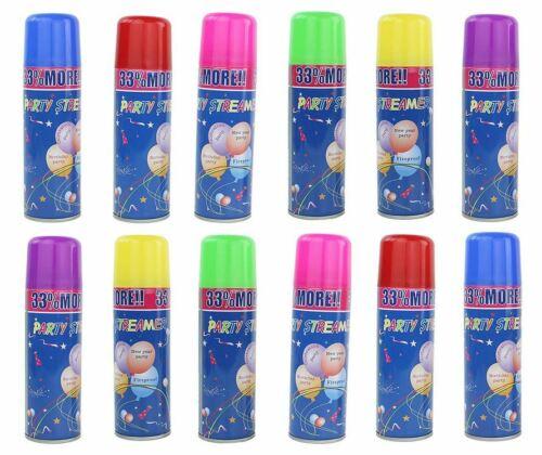 12 Party String Cans - Silly Fun Goofy Crazy Streamer Prank Wedding Spray Supply