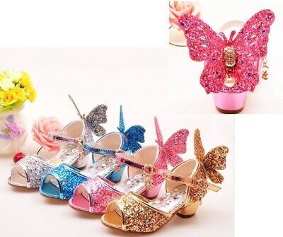 Girls Kid Sandals Rhinestone Butterfly For Summer Party High Heel Dancing Shoes - High Heel Shoes For Kids Girls
