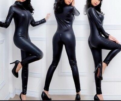 Kostüme Overall (sexy Damen Catsuit Wetlook Kunstleder Overall Zipper Bodysuit Ganzanzug Kostüm)