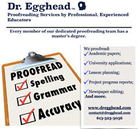 Proofreading Services by Professional, Experienced Educators