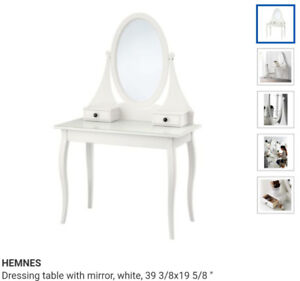 HEMNES Dressing table with mirror, WHITE, 39 3/8x19 5/8 ""