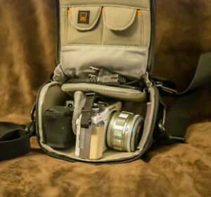 Olympus E-PL1, 2 batteries, EVF (electronic view finder) & case.
