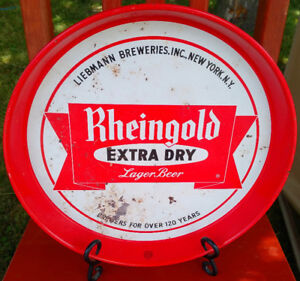 Vintage 1950's RHEINGOLD Extra Dry Lager Ale Beer Serving Tray