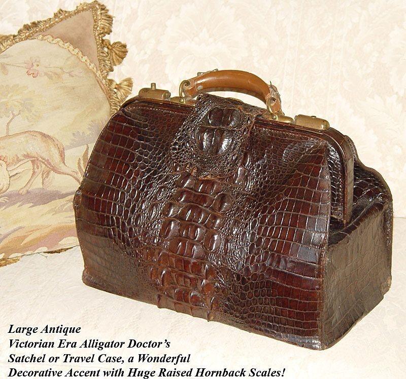 """Antique Victorian 16.5"""" Alligator Satchel, LG Hornback Scales, Doctor"""