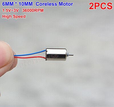 2pcs Dc1.5v-3v 36000rpm High Speed Mini Motor 6mmx10mm Mini Micro Coreless Motor