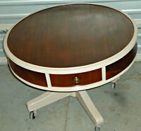 A rare antique coffee table, swivel/wheels/drawer (delivery)
