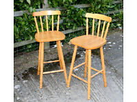 Two Pine Bar Stools with Backrest