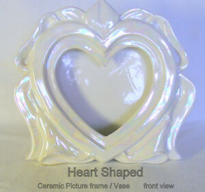 Ceramic Heart Vase/Picture Frame, white pearlescent finish