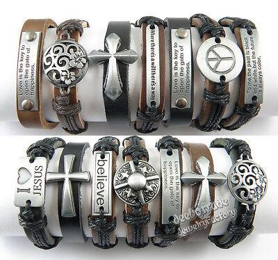 (Wholesale Lots 12/36/50/100pcs Alloy Hemp Cuff Genuine Leather Bracelets)