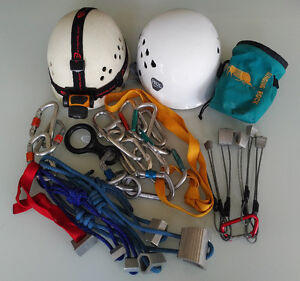 Rock Climbing Carabiners, Stoppers, Nuts, Helmets