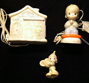Precious Moments night lights and figurine