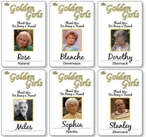 6 PC GOLDEN GIRLS CAST NAME BADGES TAGS HALLOWEEN COSPLAY MAGNET BACK