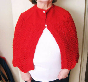 Woman's Hand Knit SHAWL / CAPELET (Red) - One Size - New