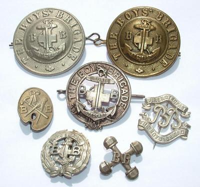 """COLLECTION OF OLD BOYS BRIGADE BADGES INCLUDING LARGE 2"""" CAP BADGES"""